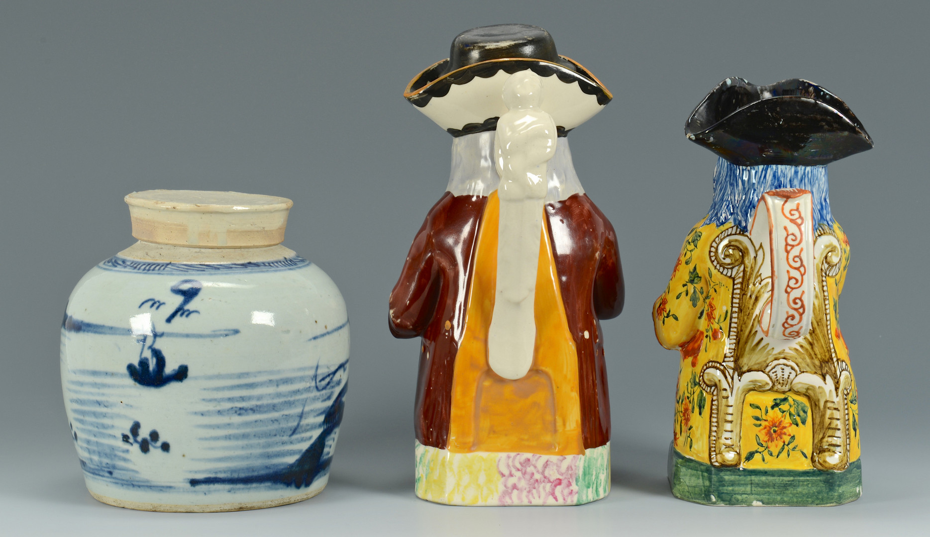 Lot 347: 2 Toby Mugs & 1 Canton Ginger Jar