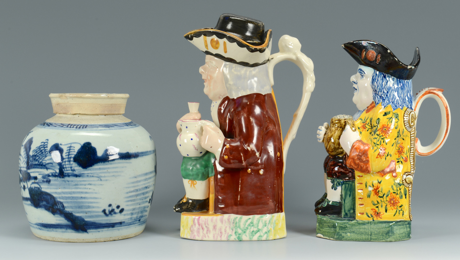 Lot 347: 2 Toby Mugs & 1 Canton Ginger Jar