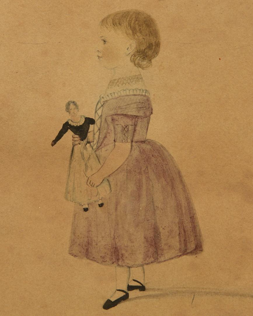 Lot 353: Folk Art Watercolor of Emily Cartwright