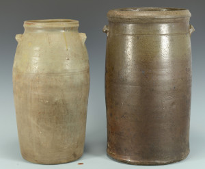 Lot 362: 2 Middle TN Stoneware Jars, attrib. Lafever