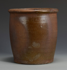 Lot 363: East TN Pottery Jar, stamped Harmon