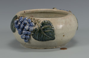 Lot 371: GA Folk Pottery Arie Meaders Grape Bowl