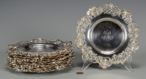 Lot 37: 12 Gorham Sterling Bread Plates w/Floral design