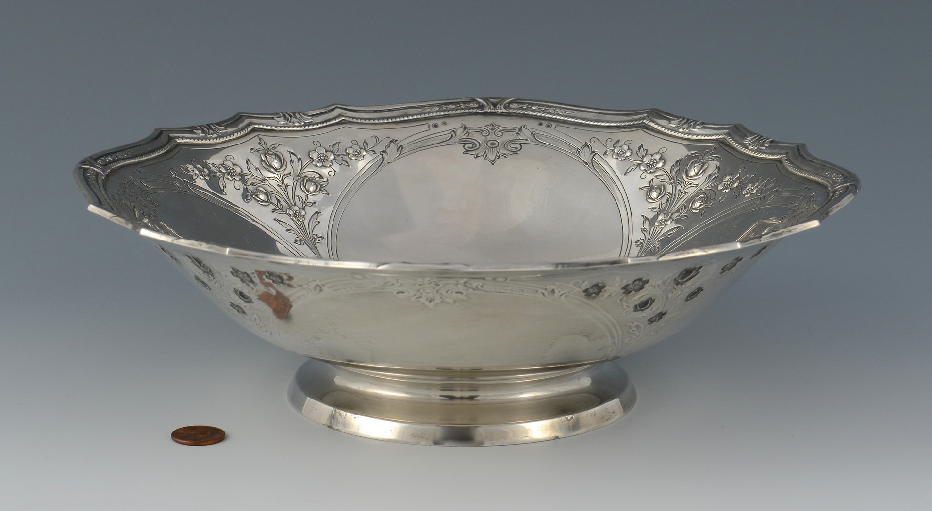 Lot 38: Gorham Sterling Footed Bowl & Tray