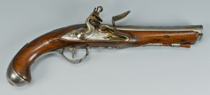 Lot 399: Flintlock Pistol with oval bore