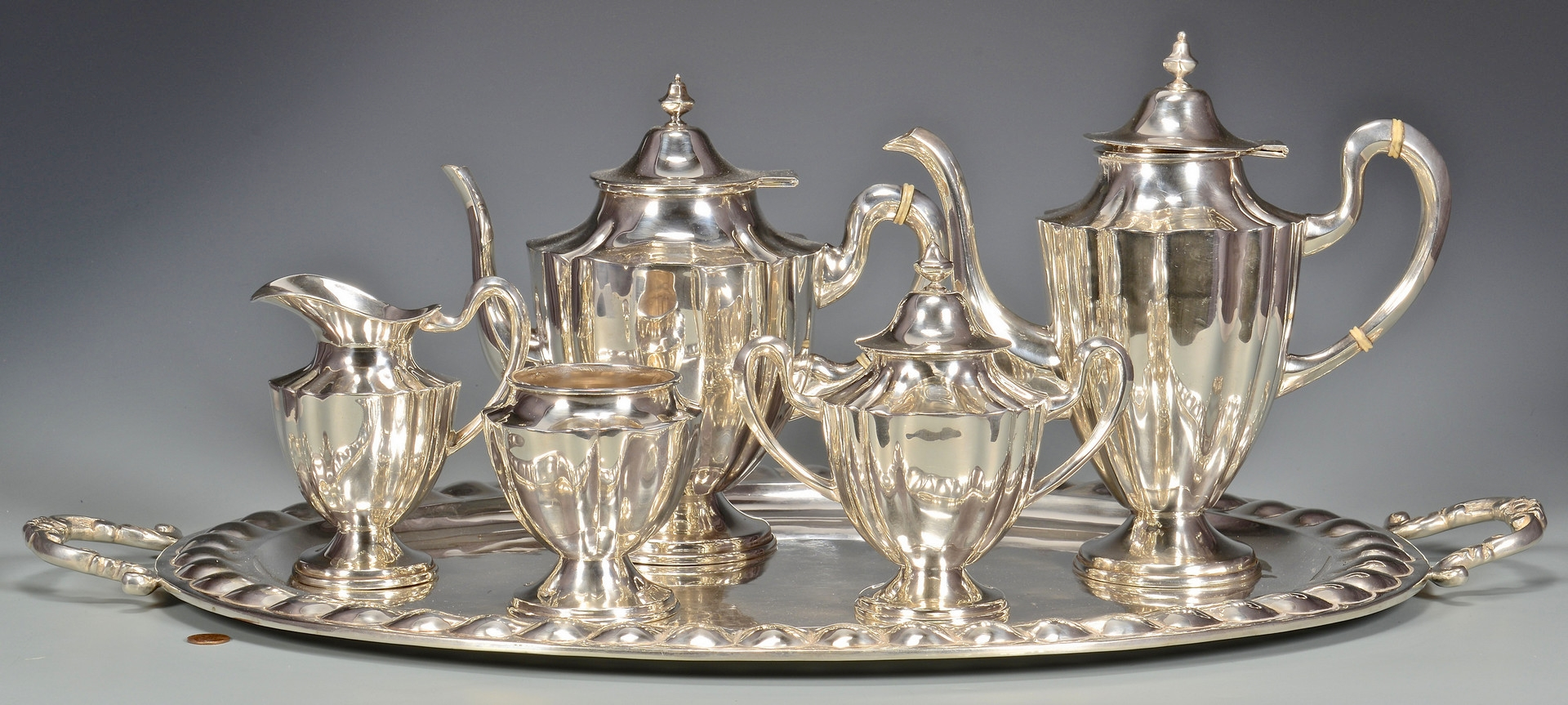 Lot 39: 6 pc. Mexican Sterling Tea Set w/ Sterling Tray