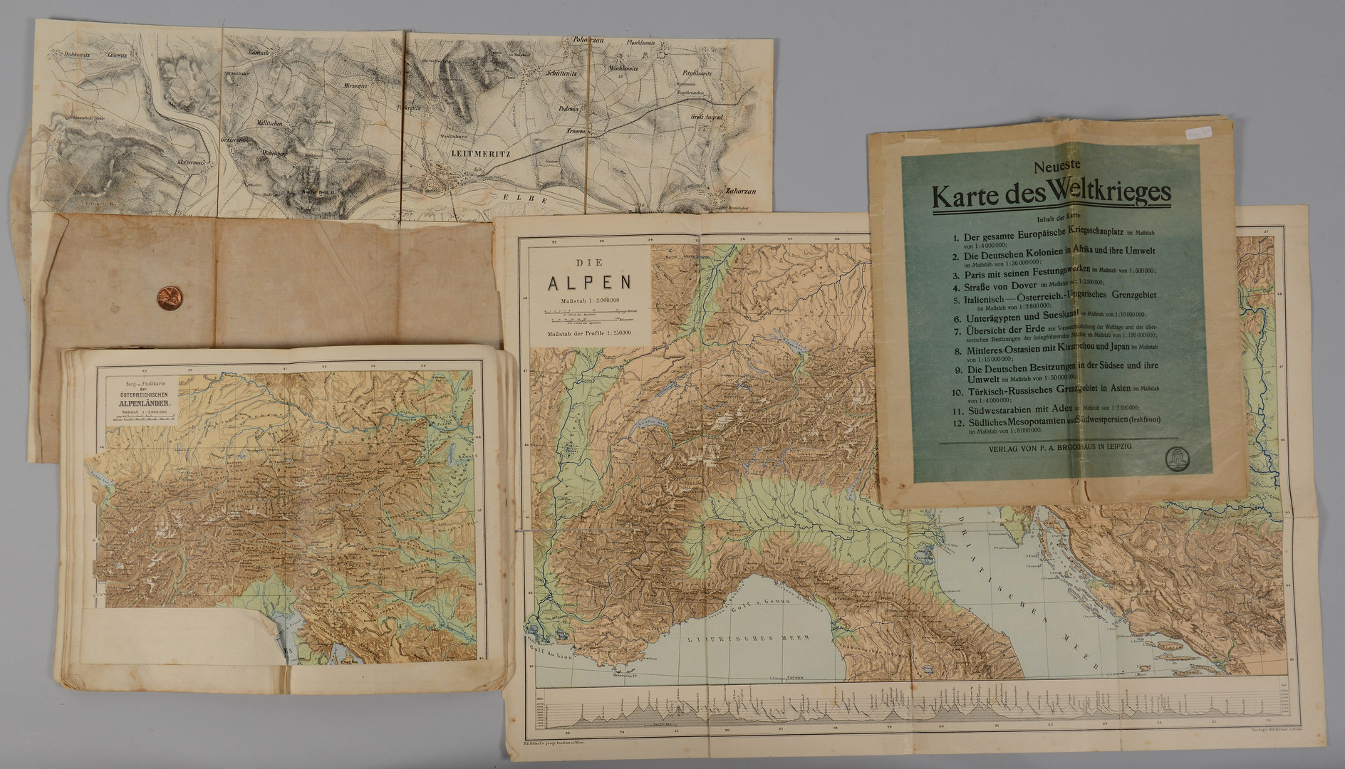 Lot 405: 19th/20th c. German Maps, 16 total