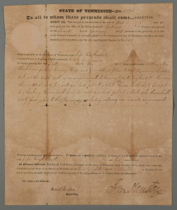 Lot 408: Sam Houston Signed TN Land Grant