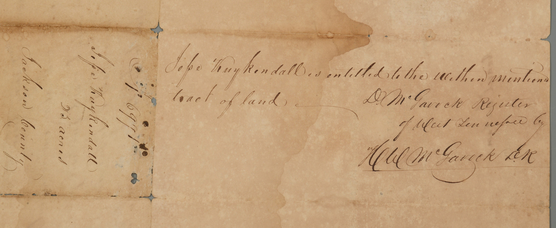 Lot 408: Sam Houston Signed TN Land Grant