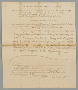 Lot 410: James K. Polk signed Land Grant