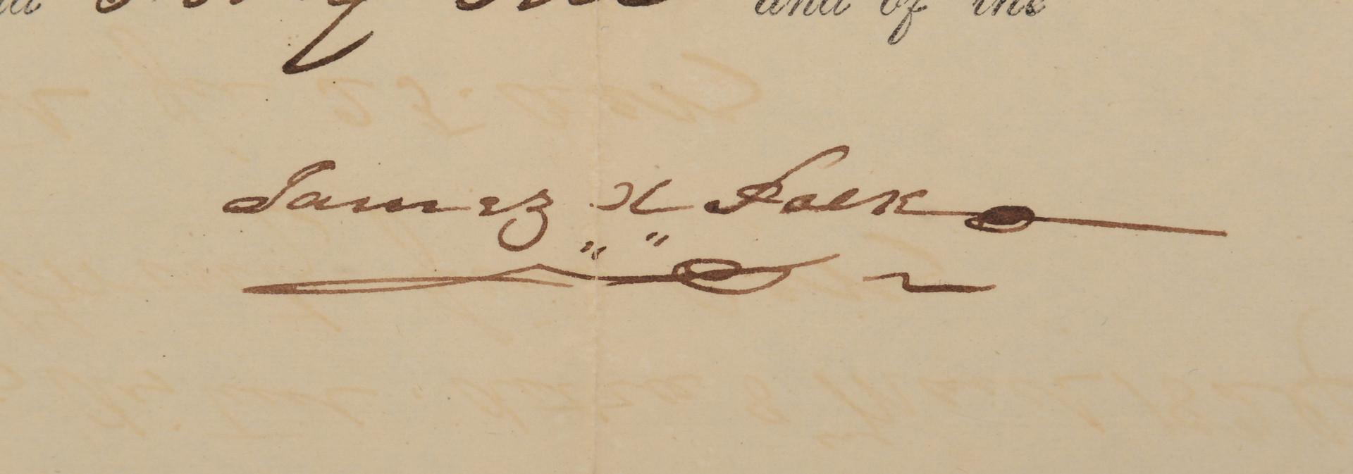 Lot 410: James K. Polk signed Land Grant
