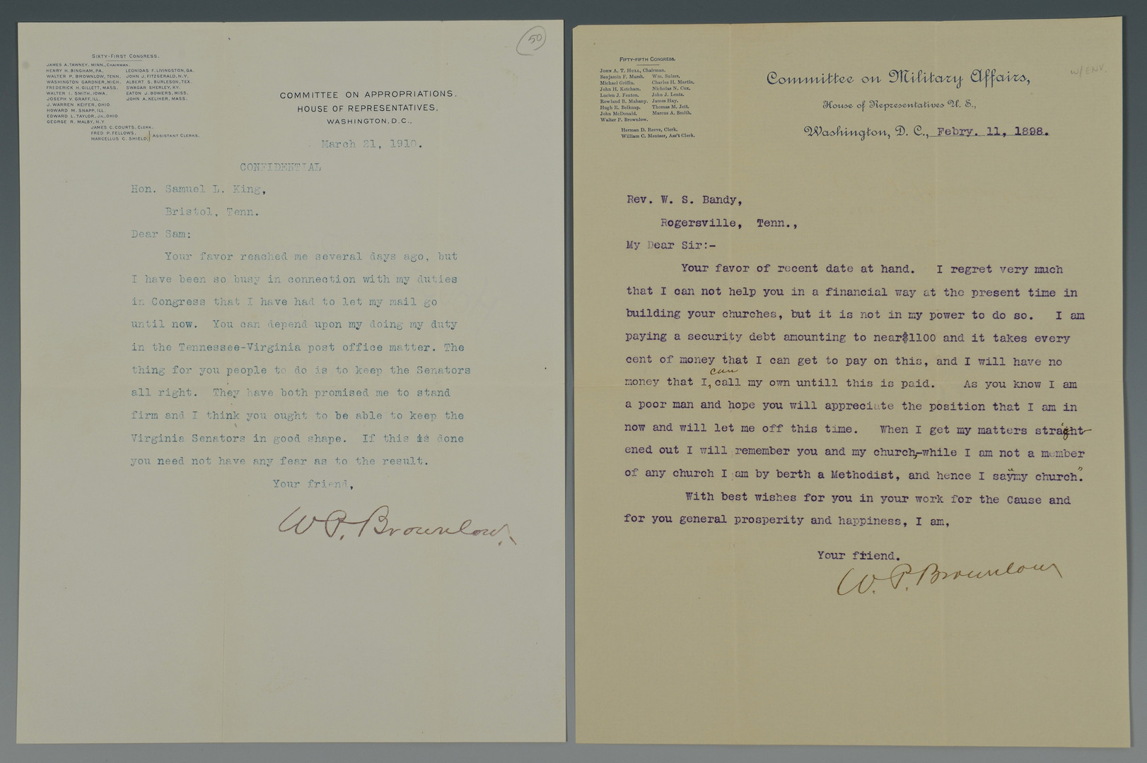 Lot 412: Brownlow Archive, Taft Letter