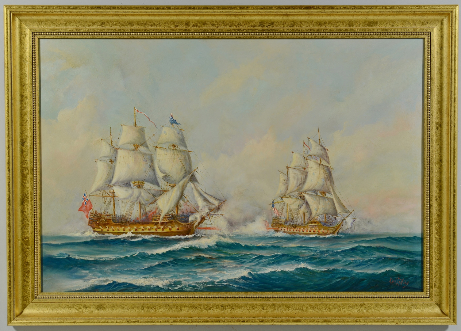 Lot 418: Earl Collins Marine Battle Painting