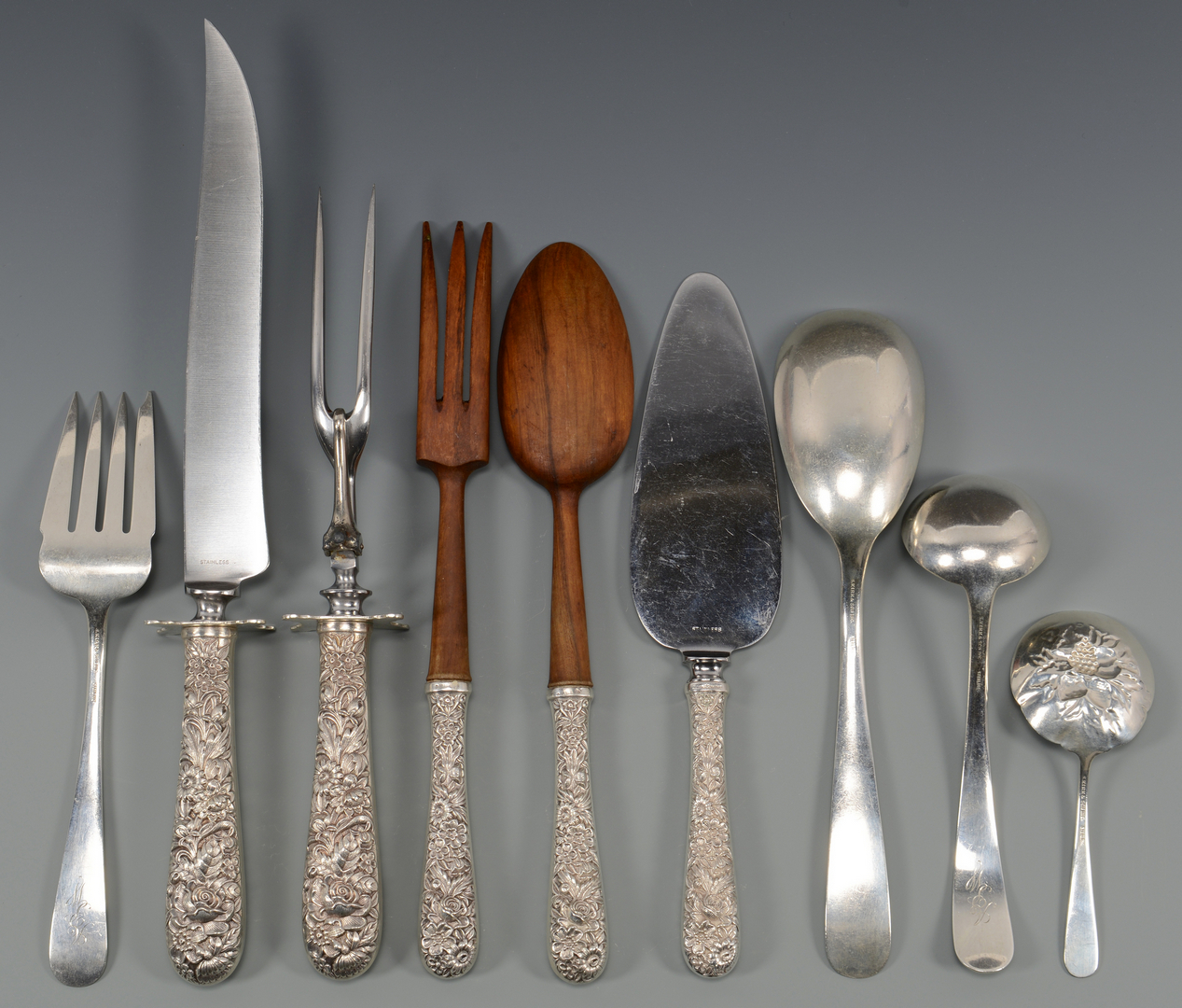 Lot 41: Kirk Repousse Sterling Flatware, 78 pcs.