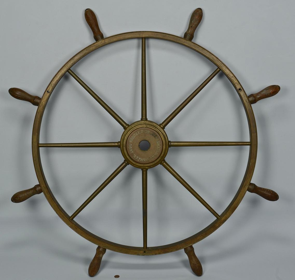 Lot 421: Brass Ship Wheel, USS Yosemite