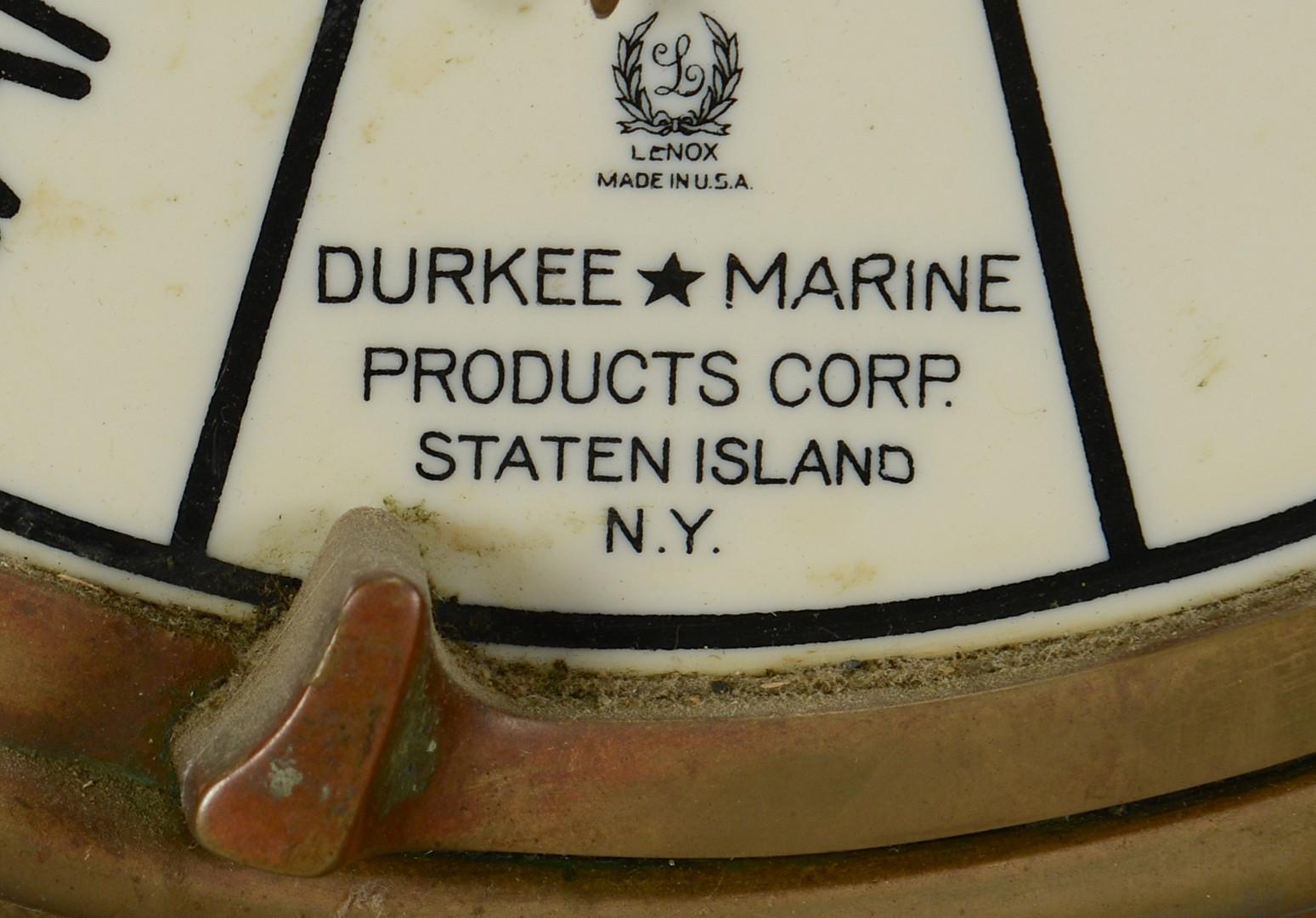 Lot 423: Durkee Marine Brass Telegraph Regulator