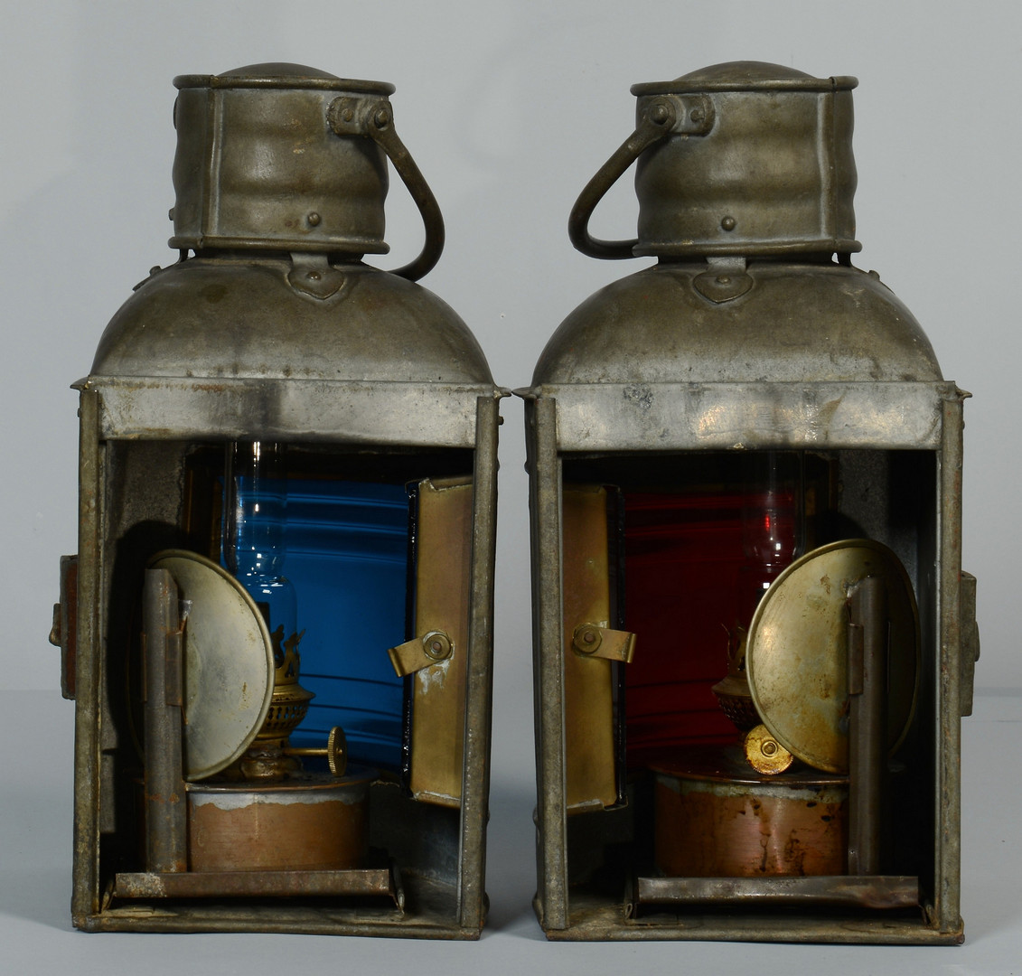 Lot 424: 4 Ship Lanterns & Navy Bucket
