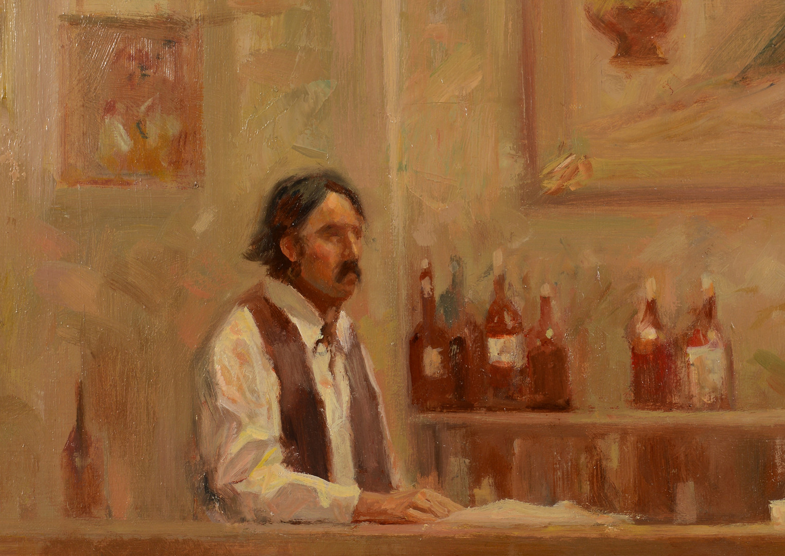 Lot 431: Carl Hantman o/c, Saloon Scene