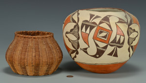 Lot 439: Large Acoma Jar and Cherokee Basket