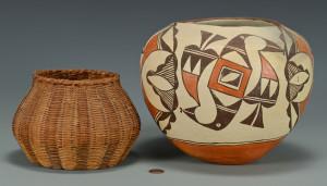Lot 439: Large Acoma Jar and Cherokee Basket