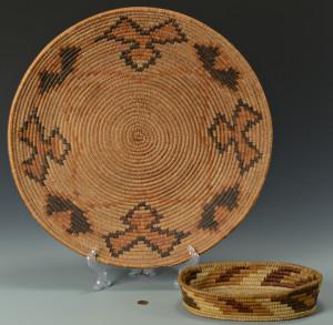 Lot 440: 2 Southwest Baskets inc. large tray, Papago