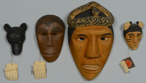 Lot 443: 4 Cherokee Carved Masks, incl. Allen Long