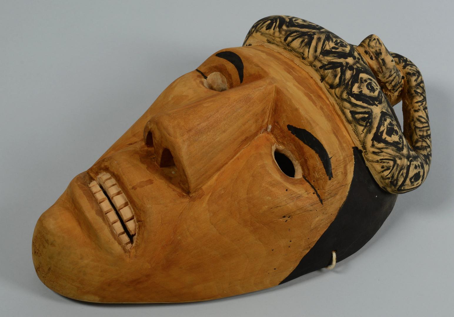 Lot 443: 4 Cherokee Carved Masks, incl. Allen Long