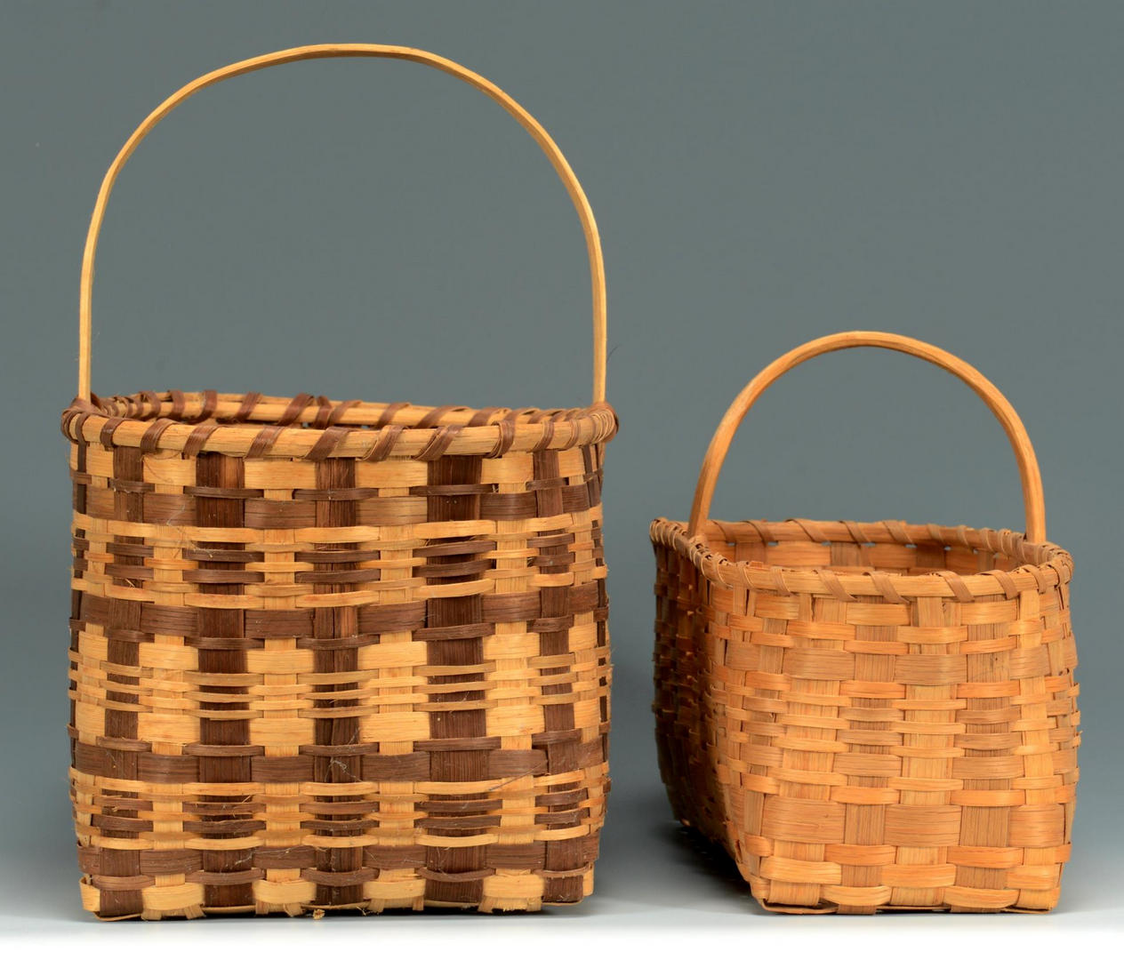 Lot 444: 3 Cherokee Carrying Baskets, 2 w/ Qualla Tags
