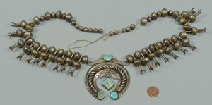 Lot 447: Early Navajo Squash Blossom Necklace w/ Turquoise