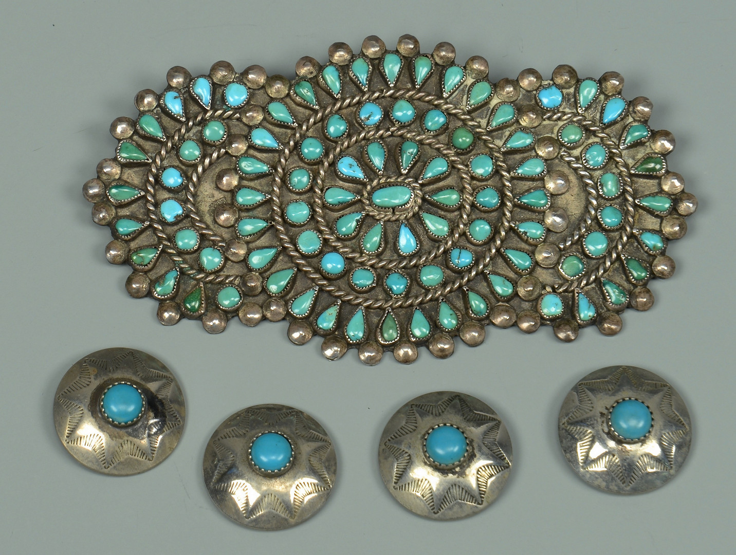 Lot 448: 4 Silver Bolo Ties & Navajo Sterling Hair Clips