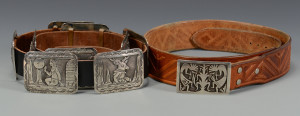 Lot 449: Two Native American Belts w/ sterling buckles