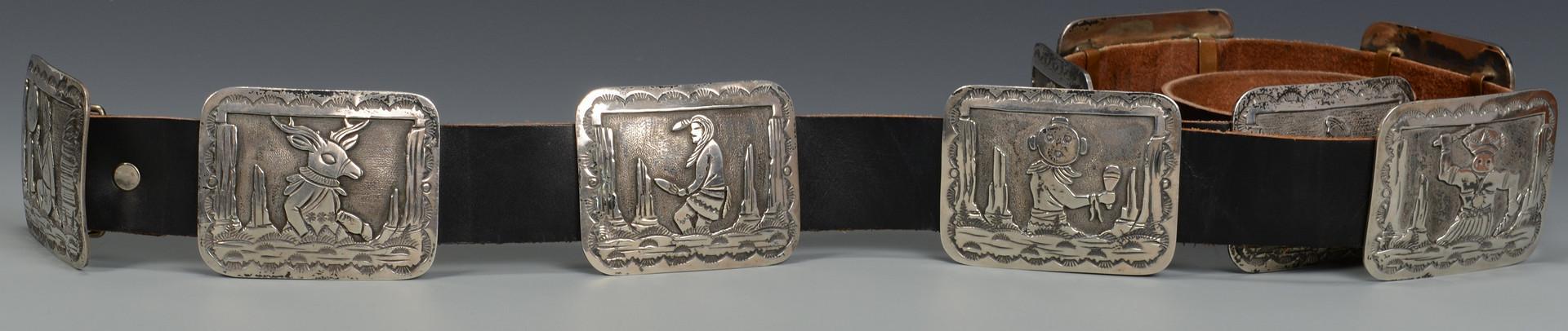 Lot 449: Two Native American Belts w/ sterling buckles