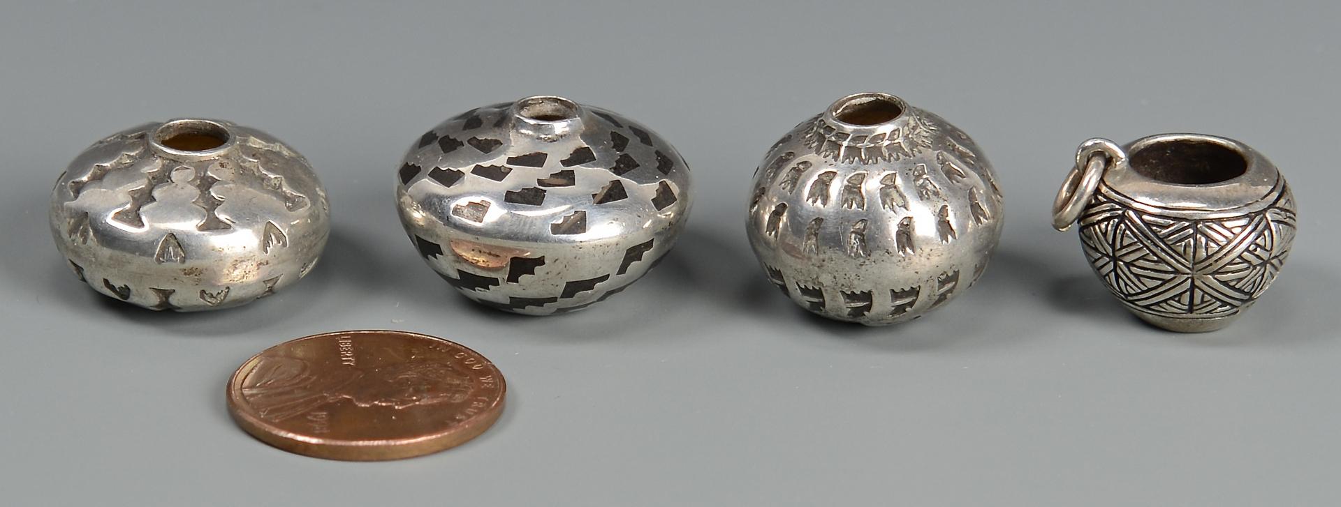 Lot 450: 4 Miniature Navajo Silver Jars