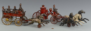 Lot 454: 2 Cast Iron Fire Toys: Wagon & Pumper