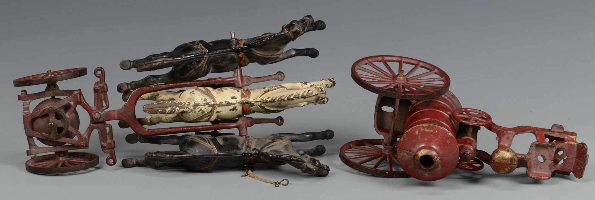 Lot 454: 2 Cast Iron Fire Toys: Wagon & Pumper