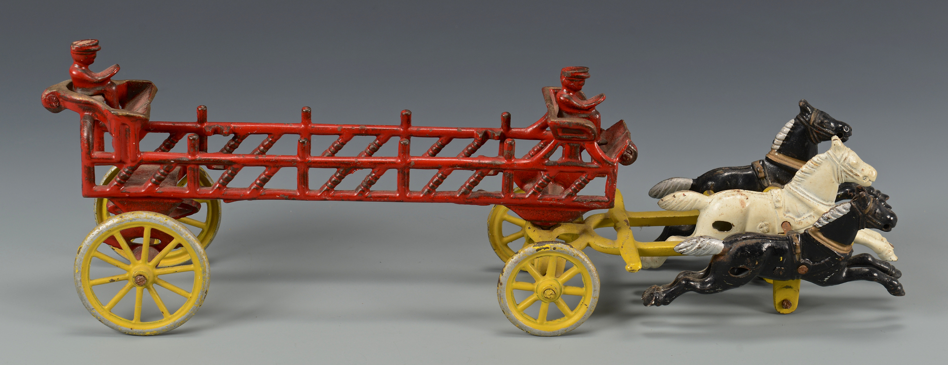 Lot 457: Cast Iron & Sheet Tin Fire Engine Wagons & Other