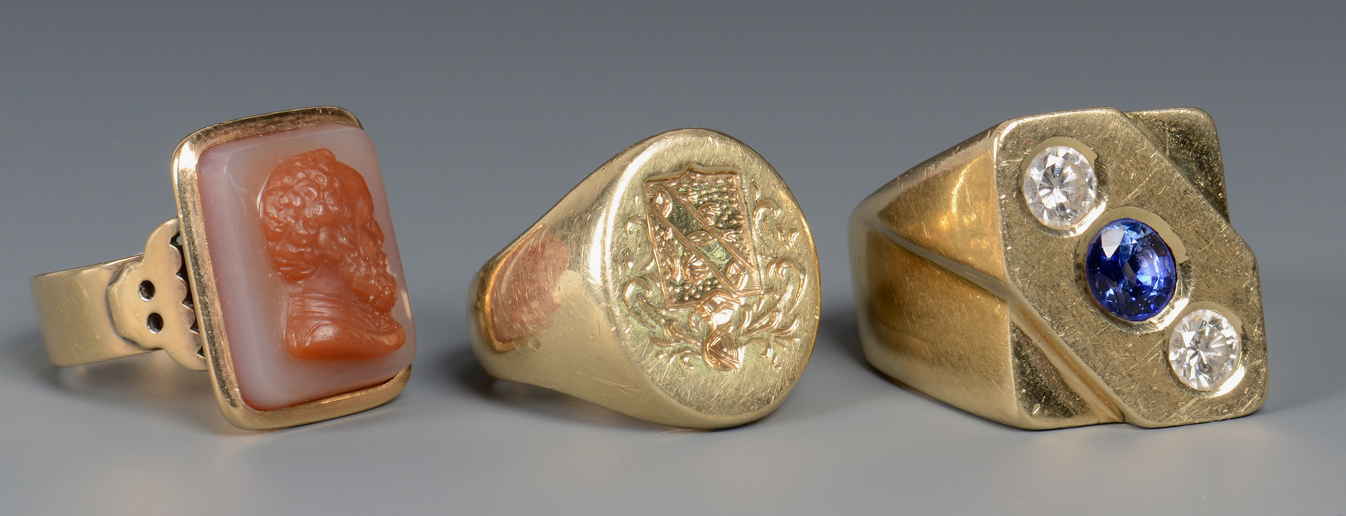 Lot 46: Three 14k Gent's Dress Rings