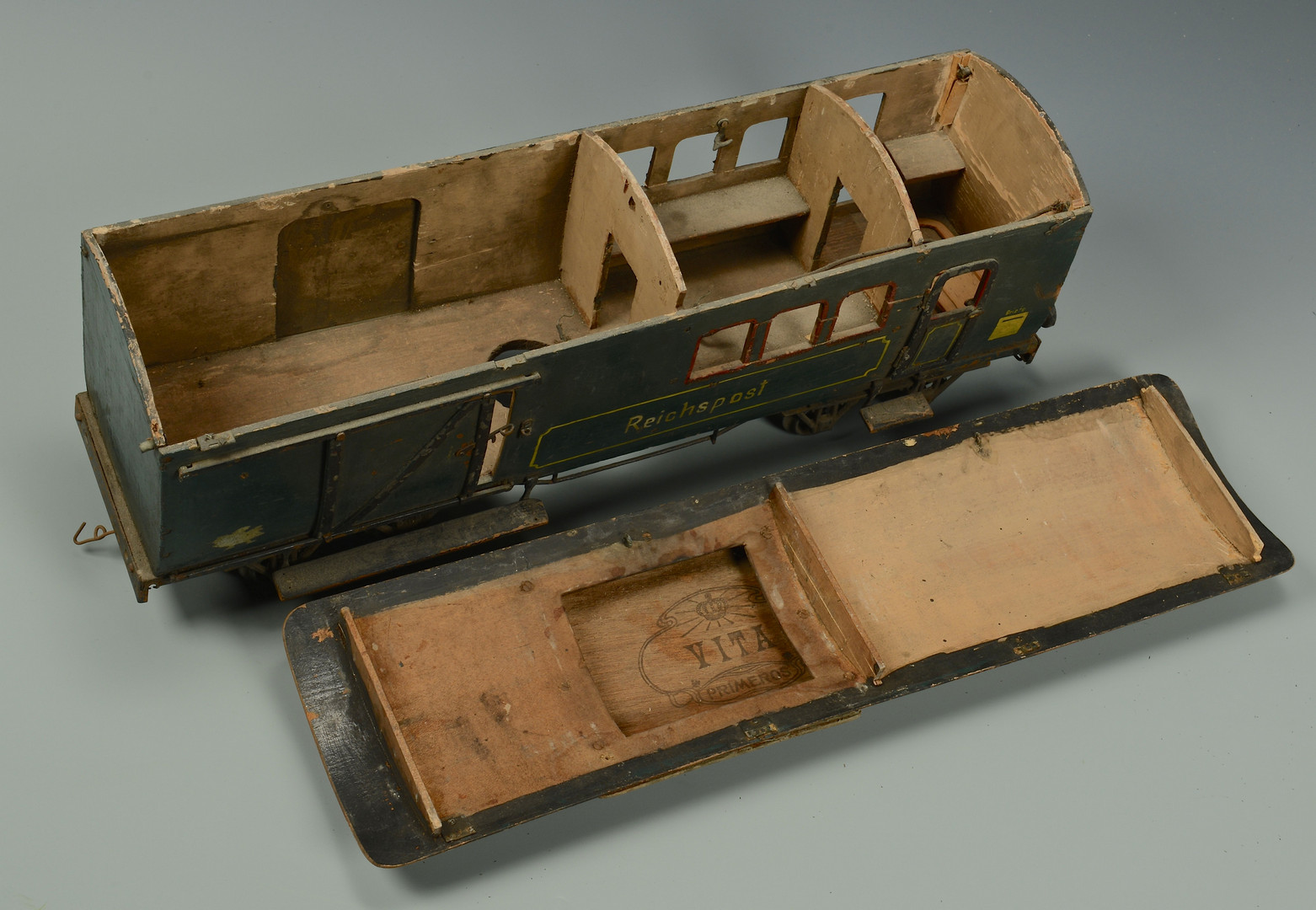Lot 473: 5 Large Floor Scale Wooden Train Cars, Mitropa