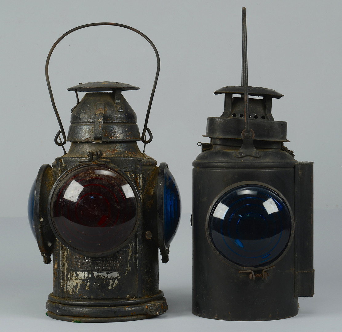 Lot 474 2 Railroad Lanterns Amp Painted Wagon Lift