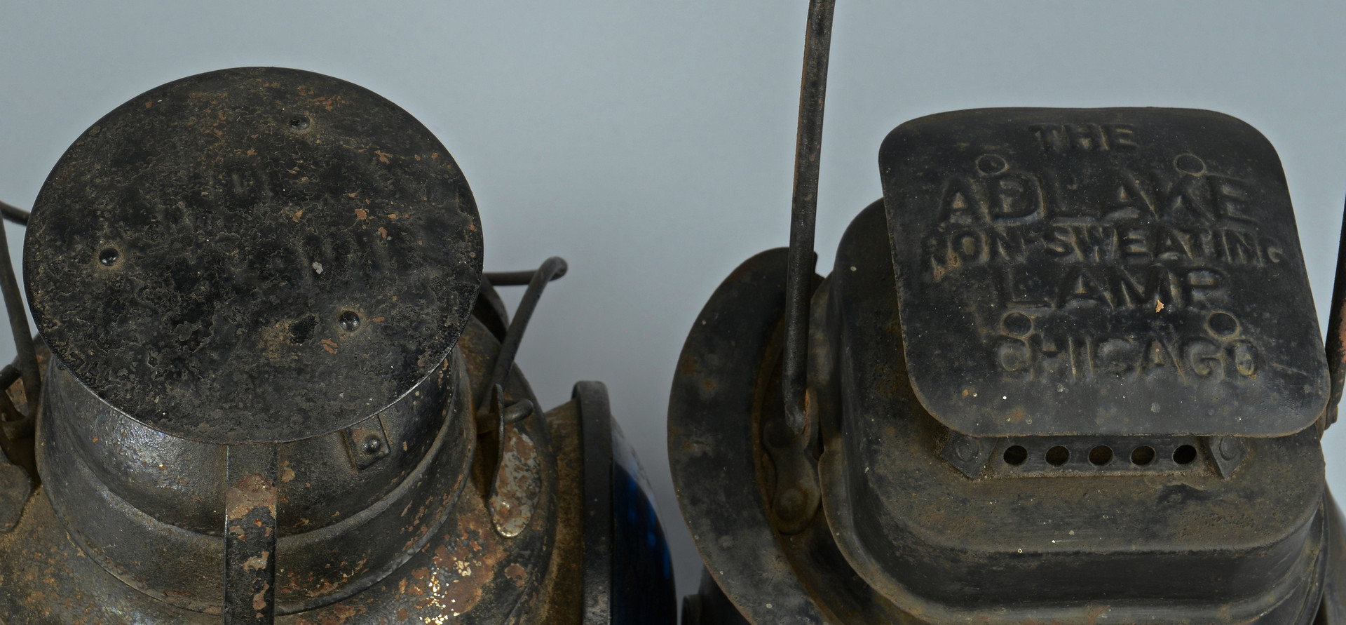 Lot 474: 2 Railroad Lanterns & Painted Wagon Lift