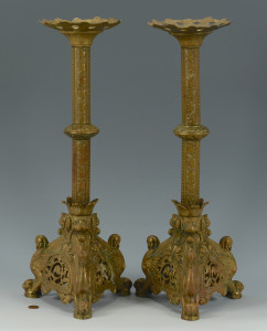 Lot 476: Pr. Gilt Bronze Altar Candlesticks