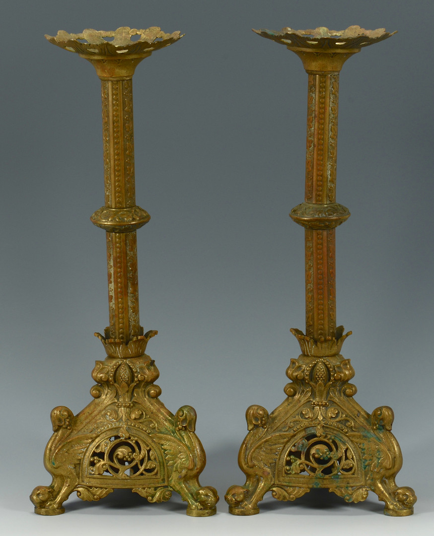 Lot 476: Pr. Gilt Bronze Altar Candlesticks