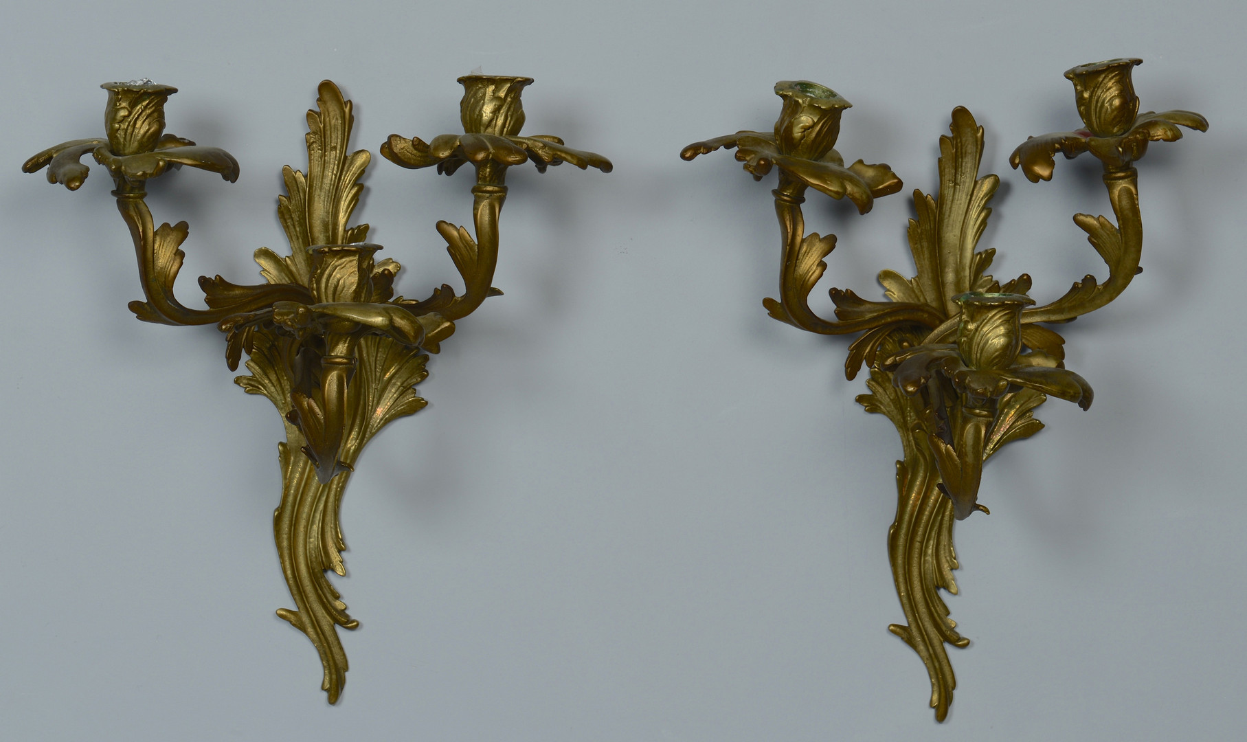 Lot 477: French Sconces & Brass Tiebacks