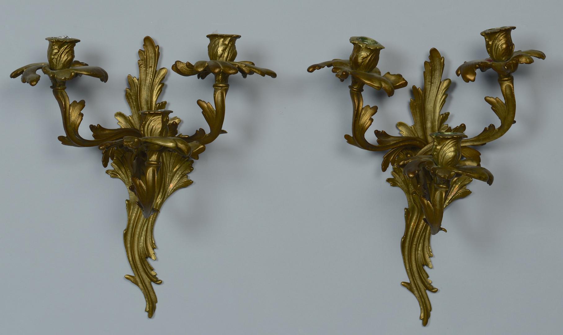 Lot 477: French Sconces & Brass Tiebacks