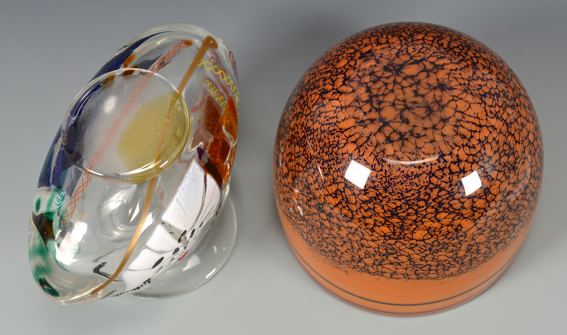 Lot 484: 3 pcs Mid-Century Art Glass + 5 small paperweights