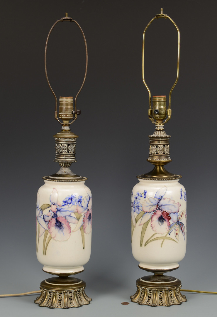 Lot 487: Pair Lamps attrib. Moorcroft