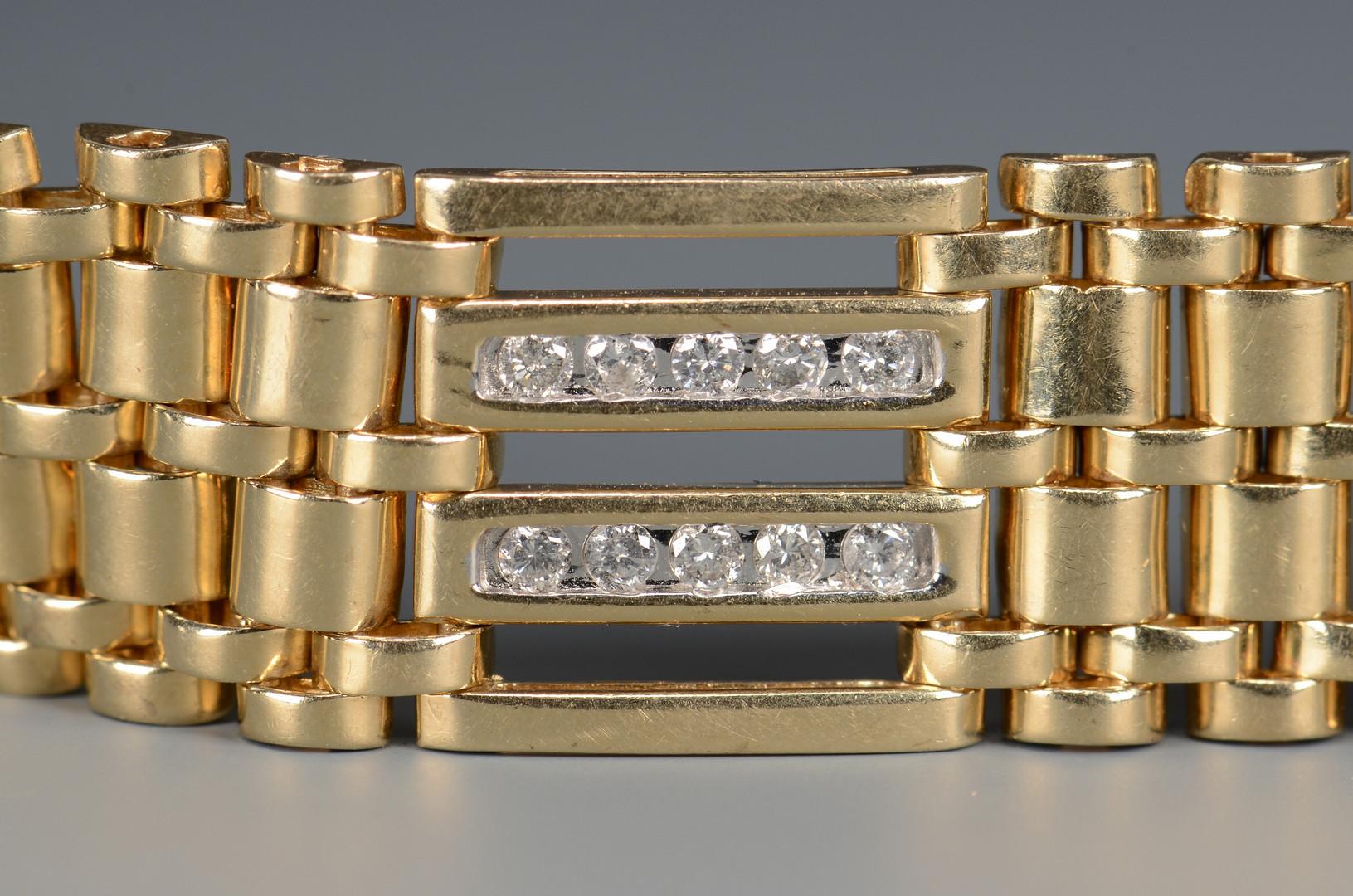 """Lot 48: 14k Diamond Link Bracelet, 8 1/4""""L"""