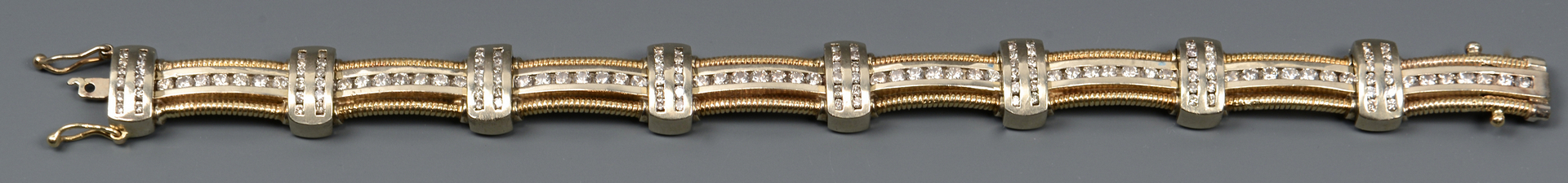"Lot 49: 14k Diamond Link Bracelet, 8"" L"