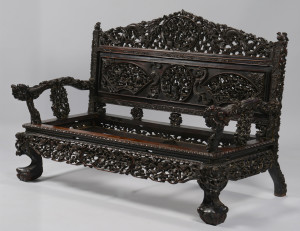 Lot 4: Chinese Hardwood Export Settee
