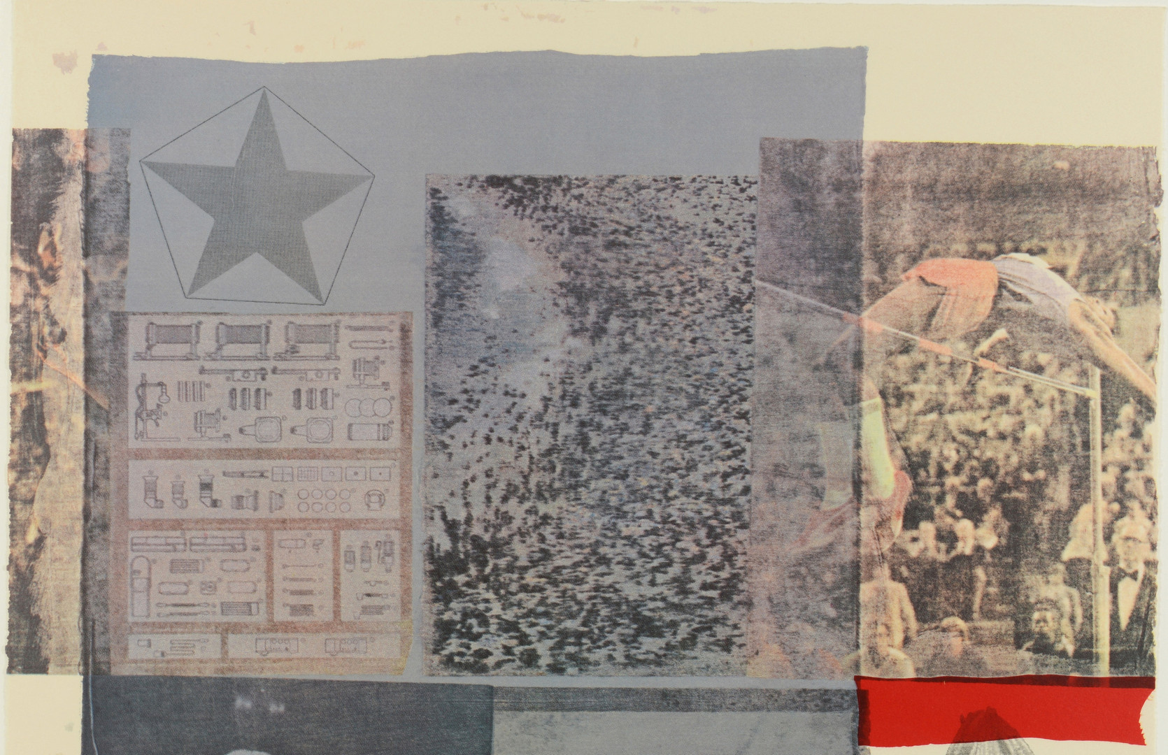 """Lot 506: R. Rauschenberg """"Back-Out"""" Mixed Media Serigraph"""